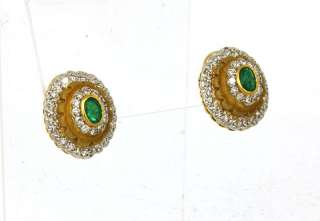 OPULENT 18K GOLD, DIAMONDS & EMERALDS LADIES EARRINGS
