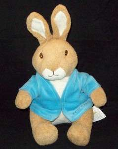 Beatrix Potter PETER RABBIT Plush TOY 12 Blue JACKET Tan CREAM