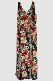 SIZE 2X & 3X FULL LENGTH MULTI COLORED FLORAL PATTERN DRESS