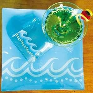 MoMo Panache Collectible Beach House Glass Coaster Set of 4