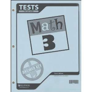 Math 3 Tests Answer Key (9781591665175) BJU Press Books