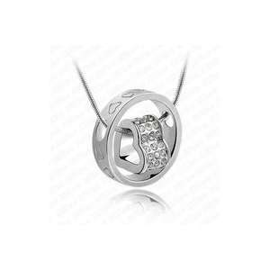 Swarovski Crystals Ring & Heart Pendant White Gold Plated