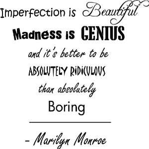 Imperfection Is Beautiful Marilyn Monroe Vinyl Wall Art