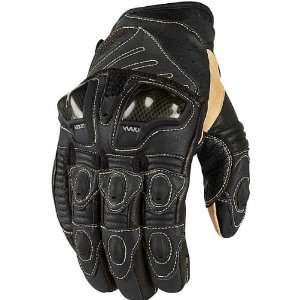 Icon Overlord Short Mens Leather Sportsbike Motorcycle Gloves   Black