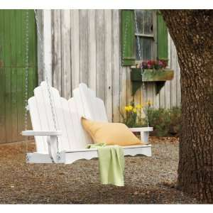 Recycled Plastic Adirondack Swing   White Patio, Lawn & Garden