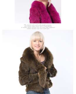 0301 real rabbit fur coats jackets coat jacket garment with fox collar