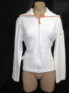 Ann Taylor Loft Womens White Zip Front Cotton Jacket Size Medium