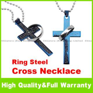 Korean Style Bible Ring Blue Steel Cross Necklace D
