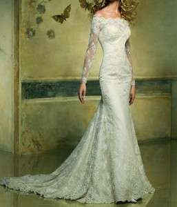 Noble 2012 Lace Covered Long Sleeve Wedding Dress Bridal Gown custom