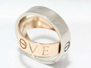 AUTH CARTIER 18K WHITE & ROSE GOLD LOVE SECRET RING 51 LIMITED EDITION