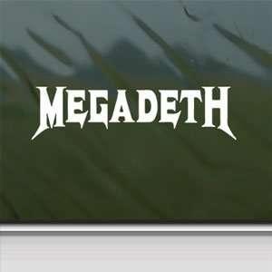 Megadeth White Sticker Metal Rock Band Laptop Vinyl Window