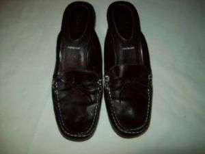Nickels Mules Black, White Stitching Sz. 9 M Leather
