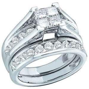 Round Diamond 10k White Gold Bridal Ring Set SeaofDiamonds Jewelry