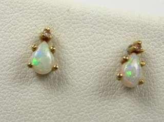 50ctw Natural Pear Cut Opal & Diamond 10k Yellow Gold Earrings