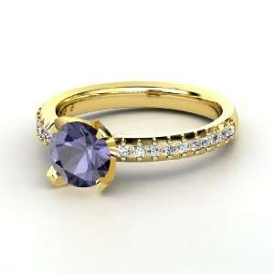 Sabrina Ring, Round Iolite 14K Yellow Gold Ring with