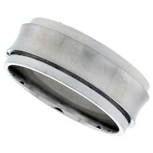 Steel 3/8 ( 9 mm ) Spinner Ring w/ Concave Satin Center 8: Jewelry