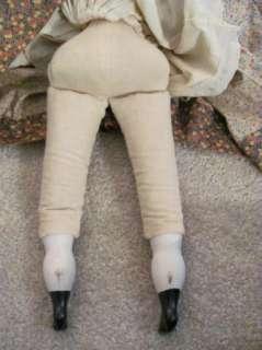 Antique Glass China Head & Shoulders Doll All Original Black Hair NICE