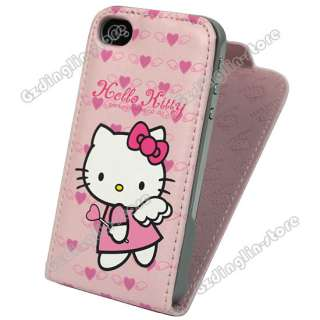 Hello Kitty Flip Leather Hard Case Pouch Cover Skin For Apple iPhone 4
