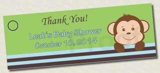 Printable MONKEY BABY SHOWER Favor Tags BIRTHDAY Thank You