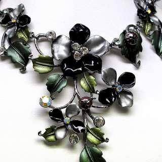 Black Enamel Flower Crystal Necklace Earrings Set s732