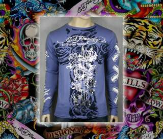 ED Hardy Mens Long Sleeve Dragon Surf t shirt Blue NEW
