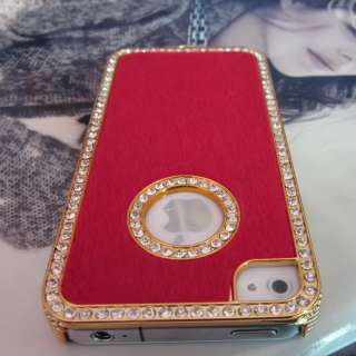 Luxury Designer Bling Crystals Case Cover for Apple iPhone 4 4S Red