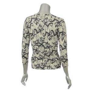 Sutton Studio Ivory Cashmere Black Floral Wrap Sweater