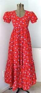 Vtg 70s Mod Hearts Flowers Prairie Hippie Maxi Dress
