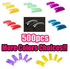 500 Clear Color Mix French Acrylic False Nail Art Tips
