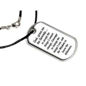 Serenity Prayer   God Grant Me   Military Dog Tag Black