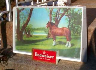 Vintage Old Budweiser Beer Logo Advertising Light Farm Sign w