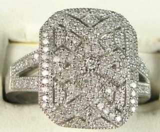 SI2 Micro Pave Genuine Diamond Milgrain Sterling Ring 5.5g Sz 7