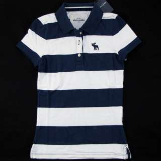 NWT ABERCROMBIE FITCH Polo Shirt Girls XL / Womens XS Blue White Moose