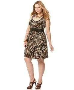 MICHAEL Kors NWT $99 Sleeveless Leaf Print Plus Size Dress 1X 2X