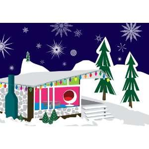 Retro Home in the Snow   Boxed Holiday Christmas Greeting Cards   Set