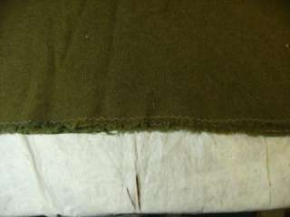 VINTAGE MILITARY ARMY OLIVE DRAB GREEN WOOL BLANKET 39 x 62 GUC