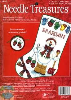 Cross Stitch Kit ~ JCA Snowman Snow Happy Christmas Stocking #08558