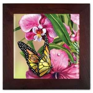 Monarch & Flowers Ceramic Trivet & Wall Decoration