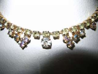 Austrian Rhinestone Choker Necklace Base Metal Brass 14 1/2