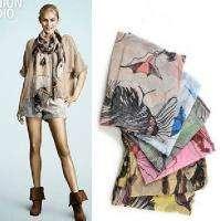 Fashion Ink Hand Painted Scarf Shawl Wrap Large Size