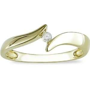 10K Yellow Gold Diamond Ring (I J, I2): Jewelry