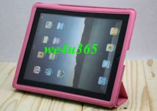 Leather Smart Cover Back Case Stand 4 Ipad 2 Pink NEW