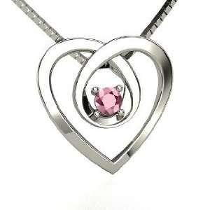Infinite Heart Pendant, 14K White Gold Necklace with Rhodolite Garnet