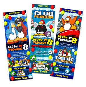 CLUB PENGUIN PUFFLES BIRTHDAY PARTY INVITATION TICKET 1ST CUSTOM