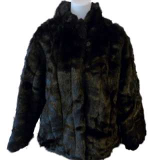 Womens Black Fur Coat faux fur Jacket Jaclyn Smith