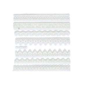 Iridescent Glitter White Floral Lace Strip Nail Stickers/Decals