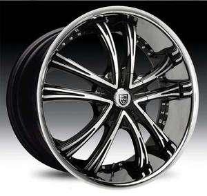 24 Lexani LSS 55 Wheel SET 24x9 Black Machined with Chrome Lip 5lug