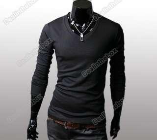 Mens Slim Fit Long Sleeve Casual Base T shirt V Neck Cotton T shirts