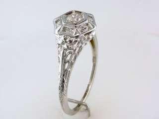 Antique Deco Genuine Diamond .35ct 18K White Gold Engagement Wedding