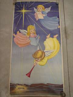 Vintage Montgomery Ward Large Store Display Poster Christmas Angel 72